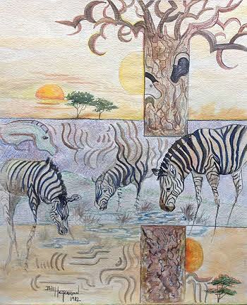 mixed media abstract of zebras
