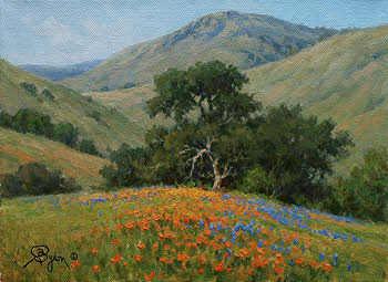 California Poppies, lupine and Oak tree oil painting