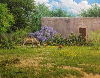 old building, donkey and chickens. Oil painting by William Hagerman
