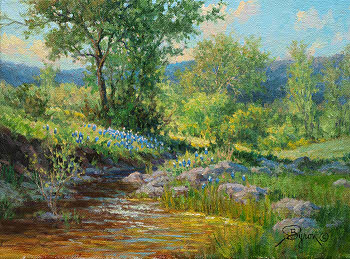landscape oil painting Texas bluebonnets and stream by Byron