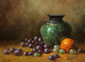 still life oil painting with raku vase grapes orange by Byron