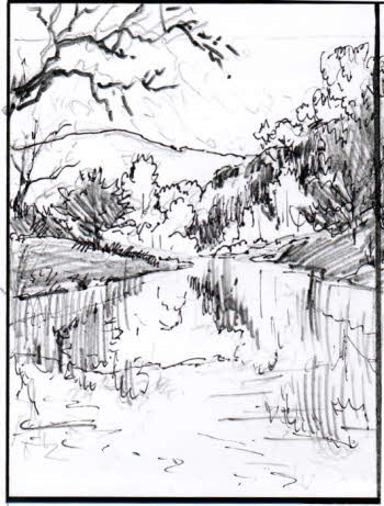 Rough sketch for landscape oil painting demo