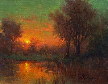 landscape oil painting sunset red sky water reflections