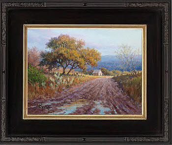landscape oil painting with road old barn by Byron