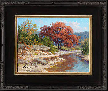Texas hill country autumn oil painting by Byron