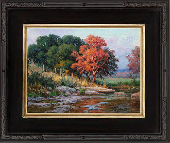 Texas hill country autumn spanish oaks landscape oil painting by Byron