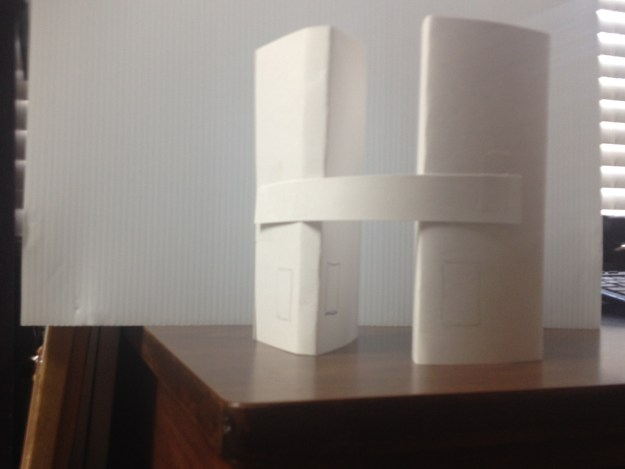 Mock paper buildings for perspective