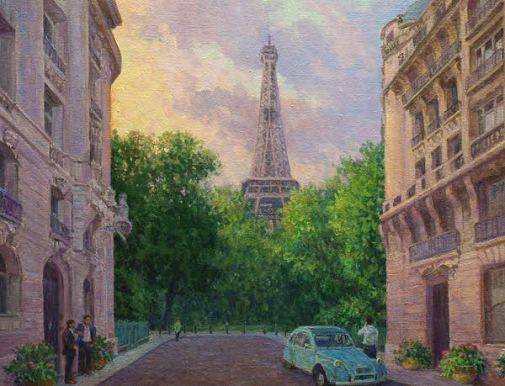 oil painting demo Eifell Tower, paris street scene detail