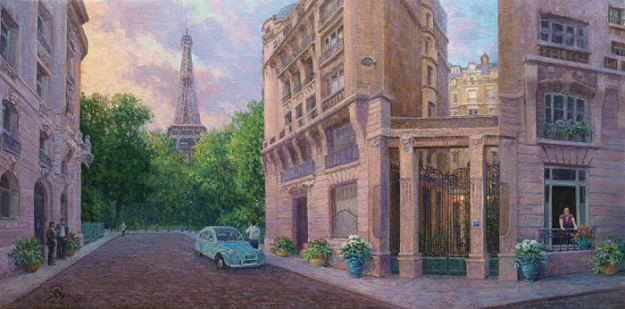 Oil Painting of a Paris Street scene with Eifell Tower by Byron