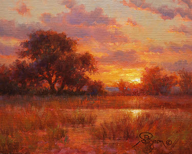 sunset oil painting landscape by William Byron Hagerman
