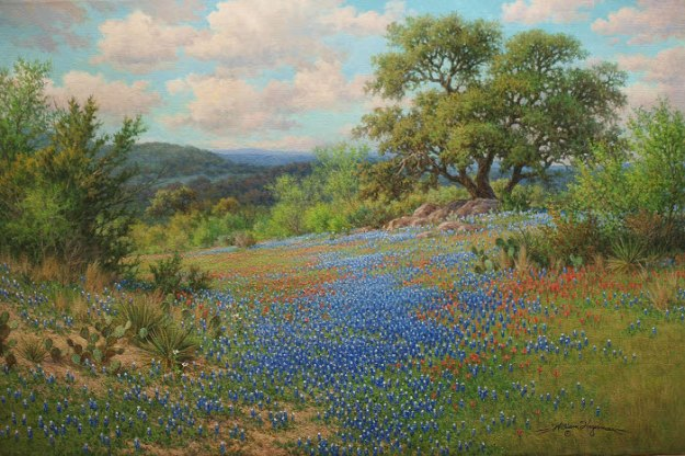 William Hagerman oil painting Texas bluebonnet and Indian Paintbrush