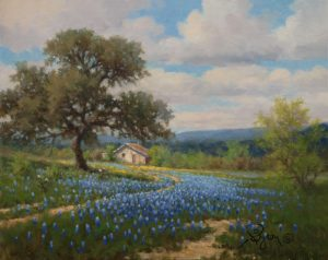 Landscape bluebonnet painting wtih oak tree and old house by William Byron Hagerman