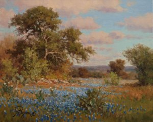 Texas landscape bluebonnet oil painting by William Byron Hagerman