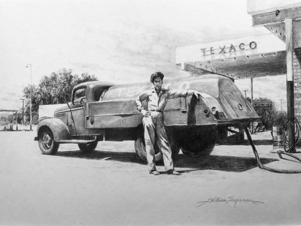 pencil drawing of old Texaco delivery truck by William Hagerman artist