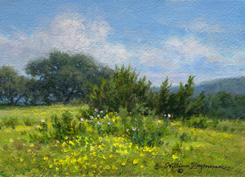 Spring Flowers landscape in acrylic on Arches watercolor paper by William Hagerman Artist. copyright 2013