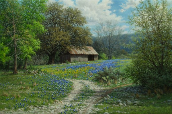realistic Texas landscape oil painting bluebonnets old barn by William Hagerman