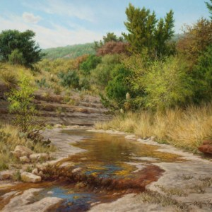 realistic landscape oil painting Texas hill country stream by William Hagerman