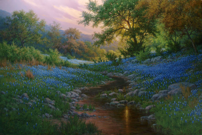 realistic landscape oil painting bluebonnets by artists William Hagerman