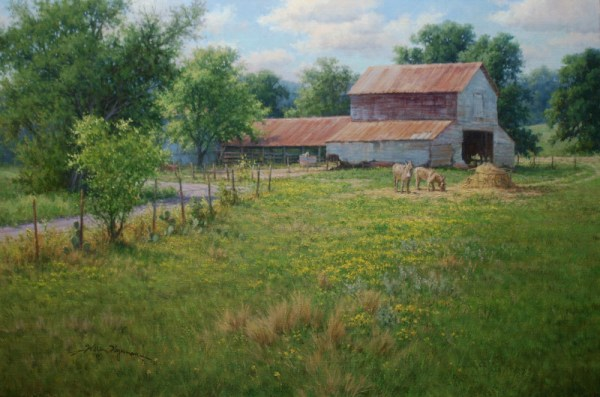 realistic landscape oil painting old barns texas scenery by William Hagerman