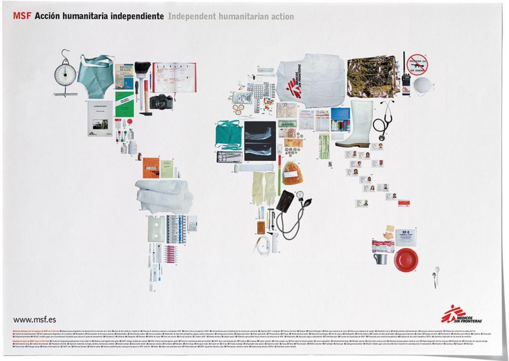 Plakat mit Schlüsselmotiv für Médicos Sin Fronteras (Ärzte ohne Grenzen)