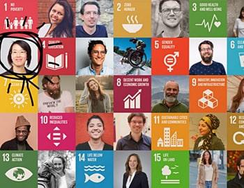 Eine schachbrettförmige Collage aus farbigen Portraits und den bunten Logos der Globalen Nachhaltigkeitsziele