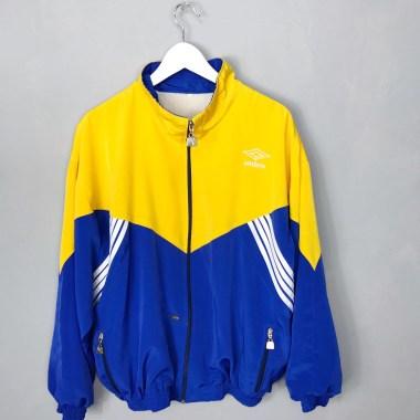 UMBRO VINTAGE Sportjacke Sportswear gelb blau 2