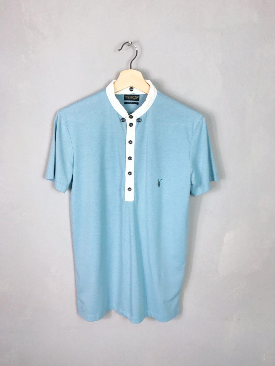 ALL SAINTS Poloshirt hellblau flexibler Kragen