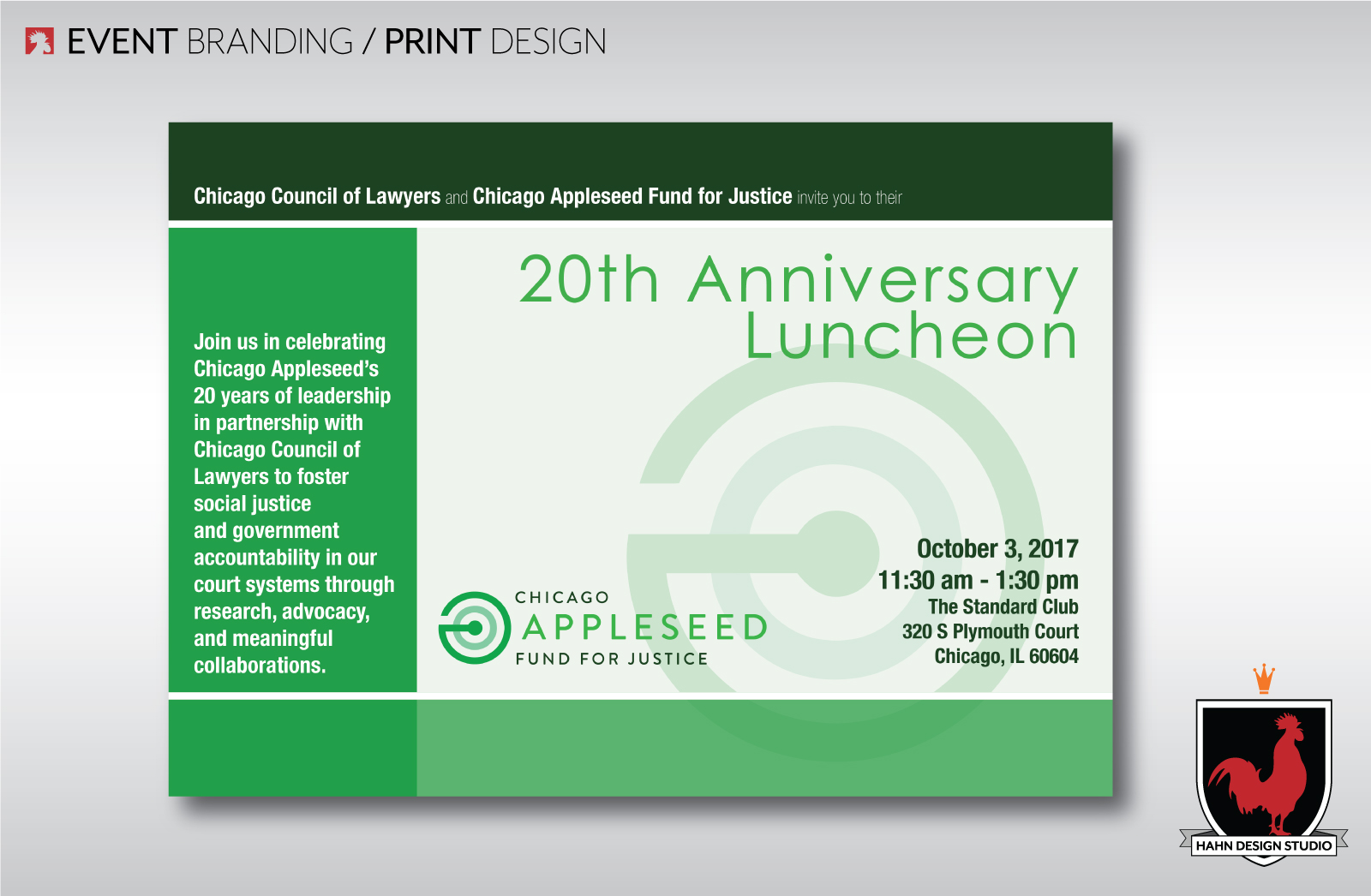 Event Branding & Print Design for the Chicago Appleseed 20th Anniversary Luncheon
