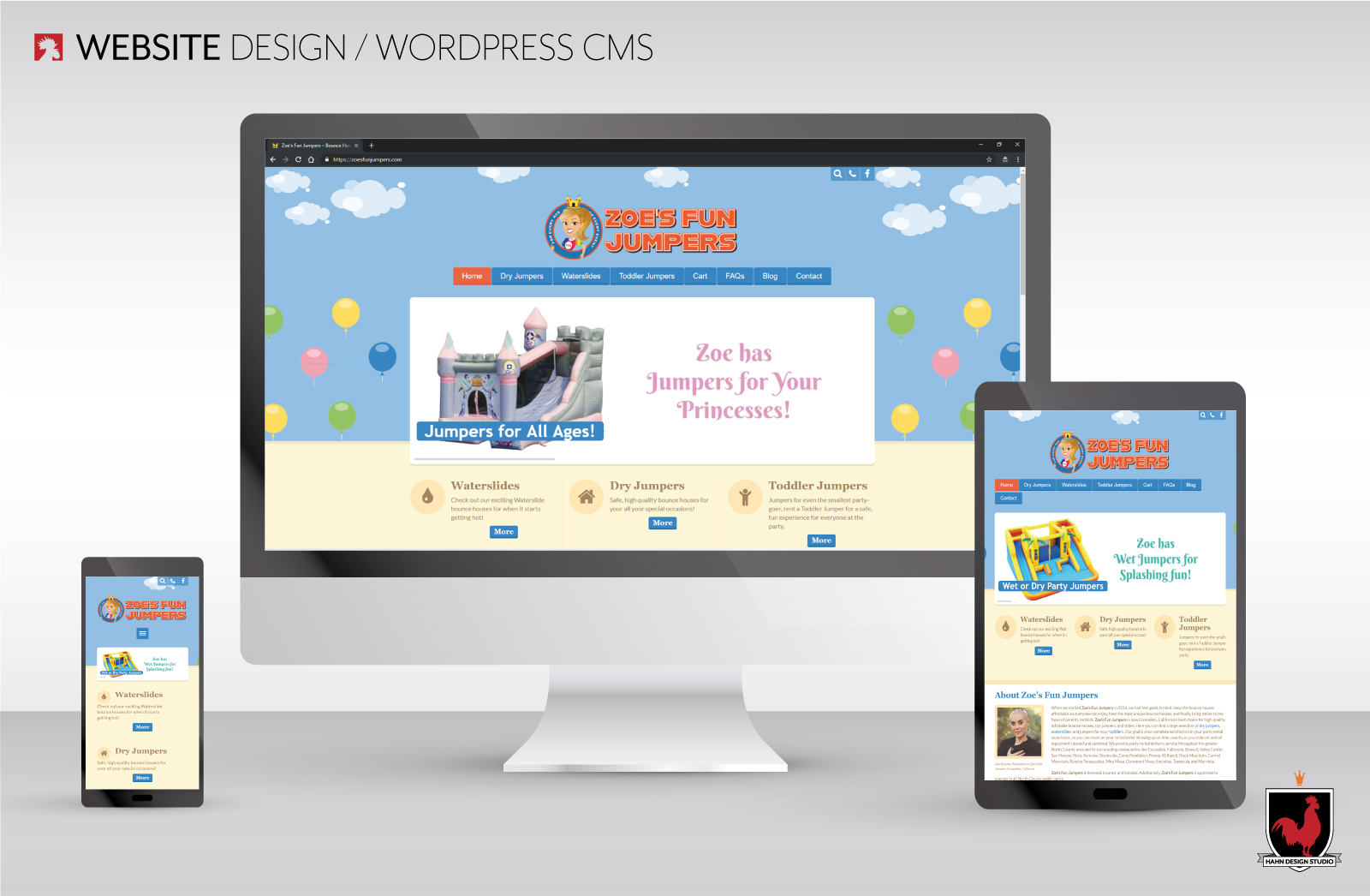 Website Design, Zoe's Fun Jumpers | Hahn Design Studio, San Marcos, California