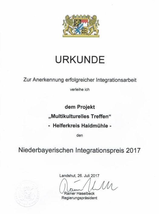 Integrationspreisurkunde