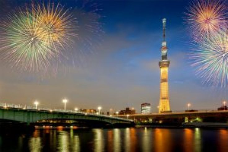 Pertunjukan kembang api di Sumidagawa Tokyo