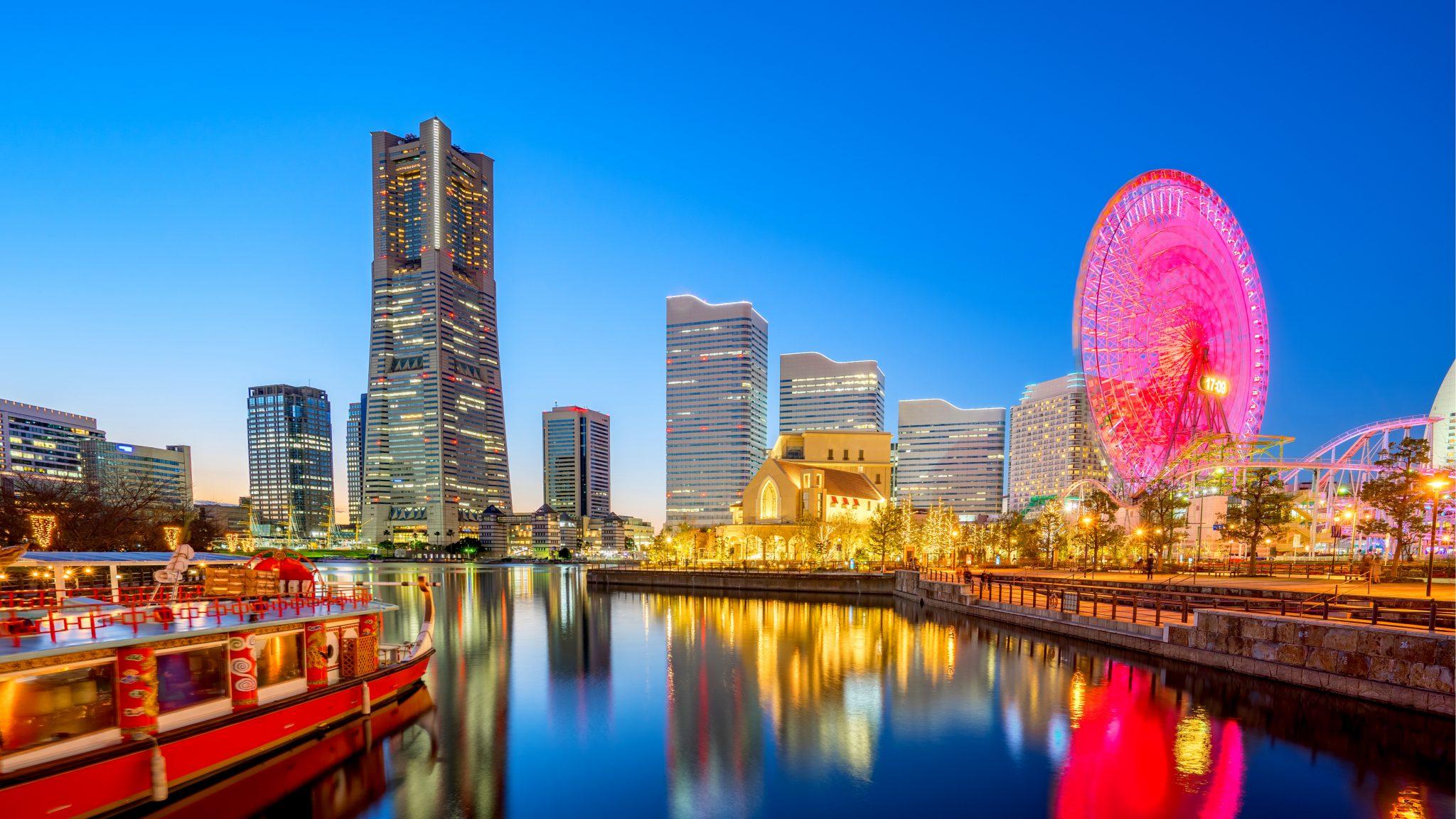 Minato Mirai Yokohama saat malam hari