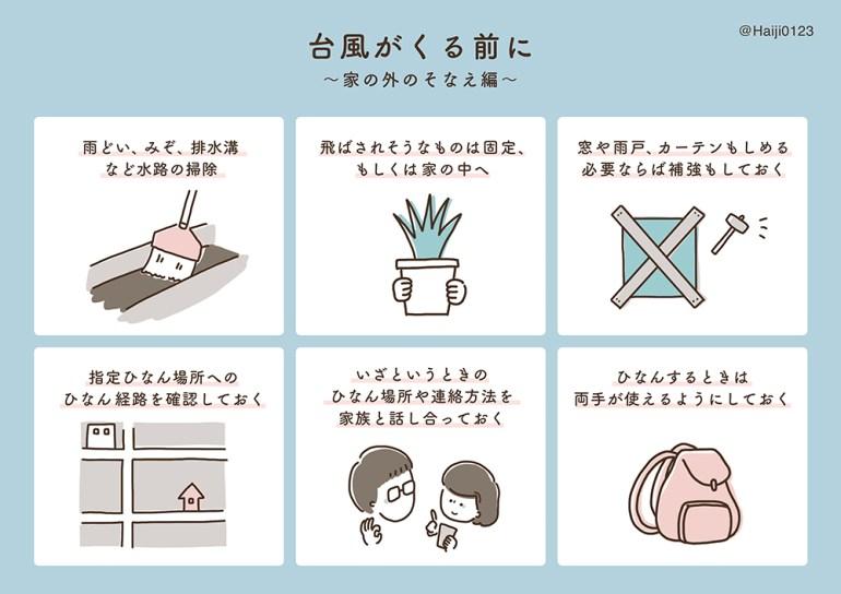 絵日記-防災-台風対策 イラスト