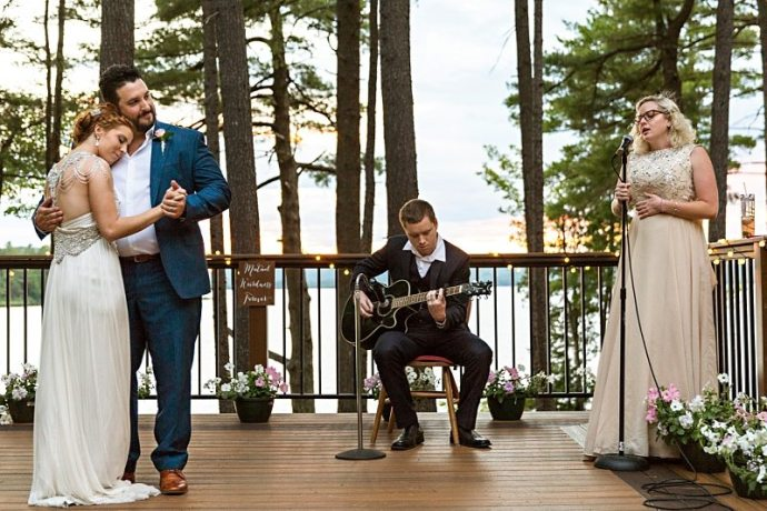 A photo of a bride and groom's outdoor first dance in Ellsworth, Maine.