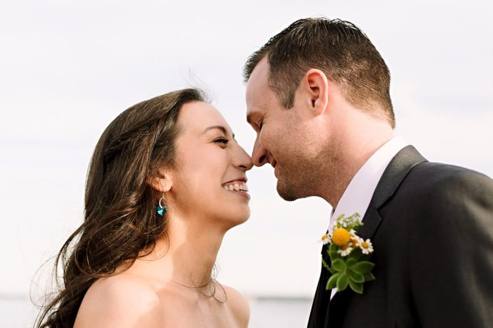 Wedding portrait at Jordan Pond.