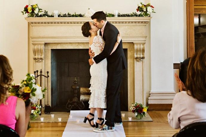 First kiss at Portland Maine elopement