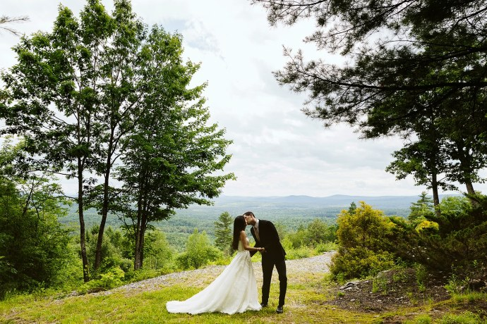 bride and groom at Granite Ridge Estate & Barn Maine wedding