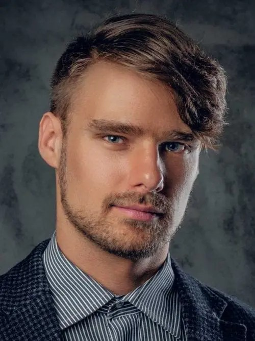 Asymmetrical Side Swept Fringe, hairstyle for big forehead male