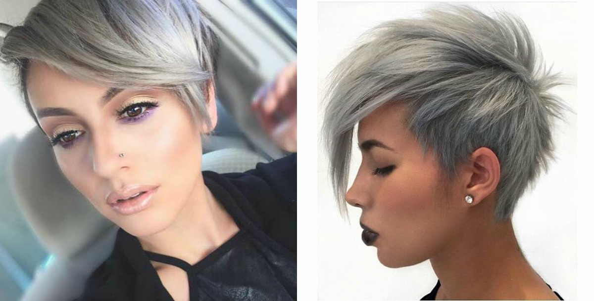 Winter Fit Extravagant Silver Pixie Haircuts