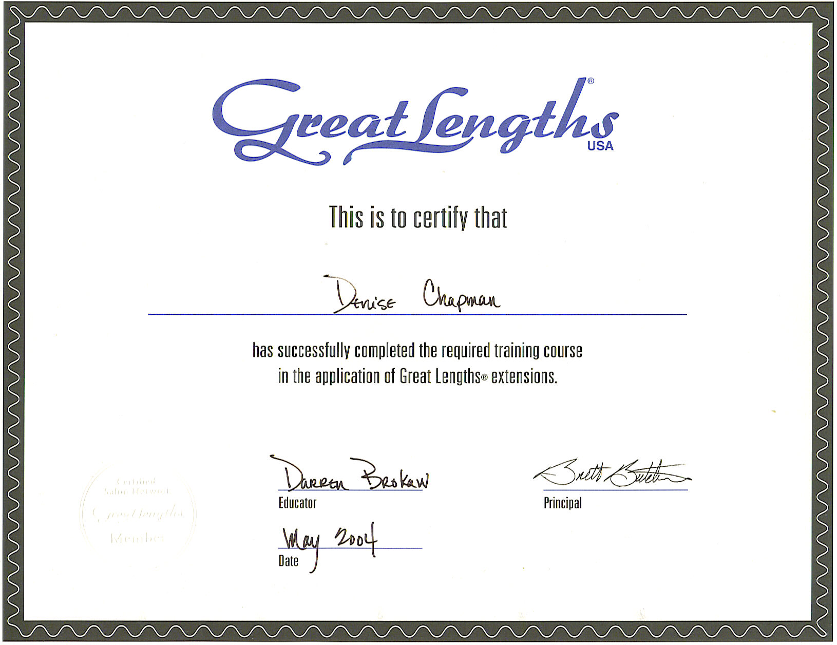 Great Lengths Certificate Hair Extensions By Denise