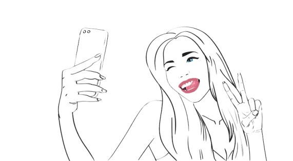 sketch-girl-take-selfie-photo-cell-smart-phone-vector-illustration-71013327