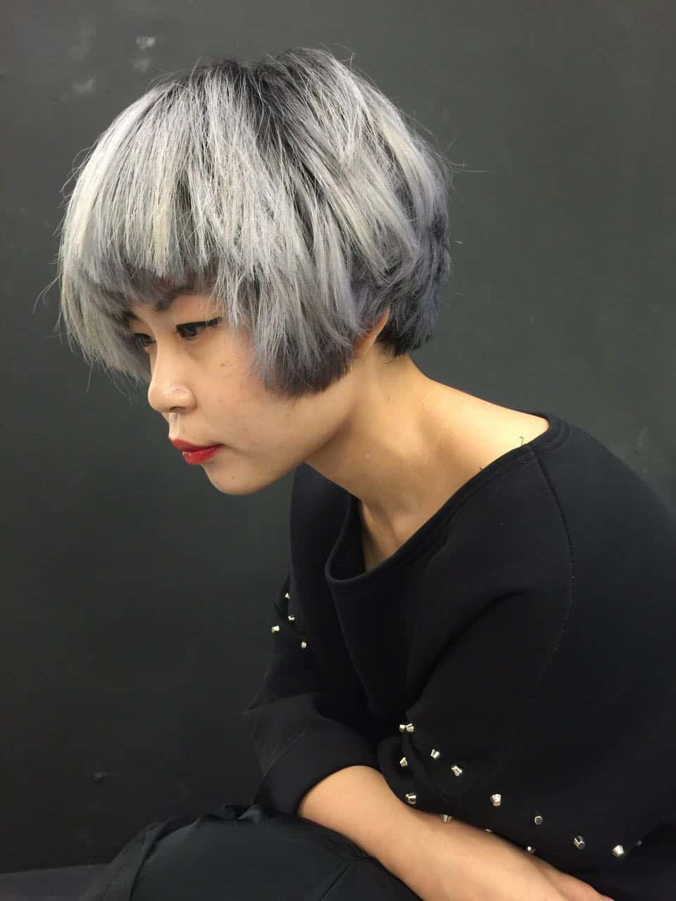 ash grey balayage hairloom salon
