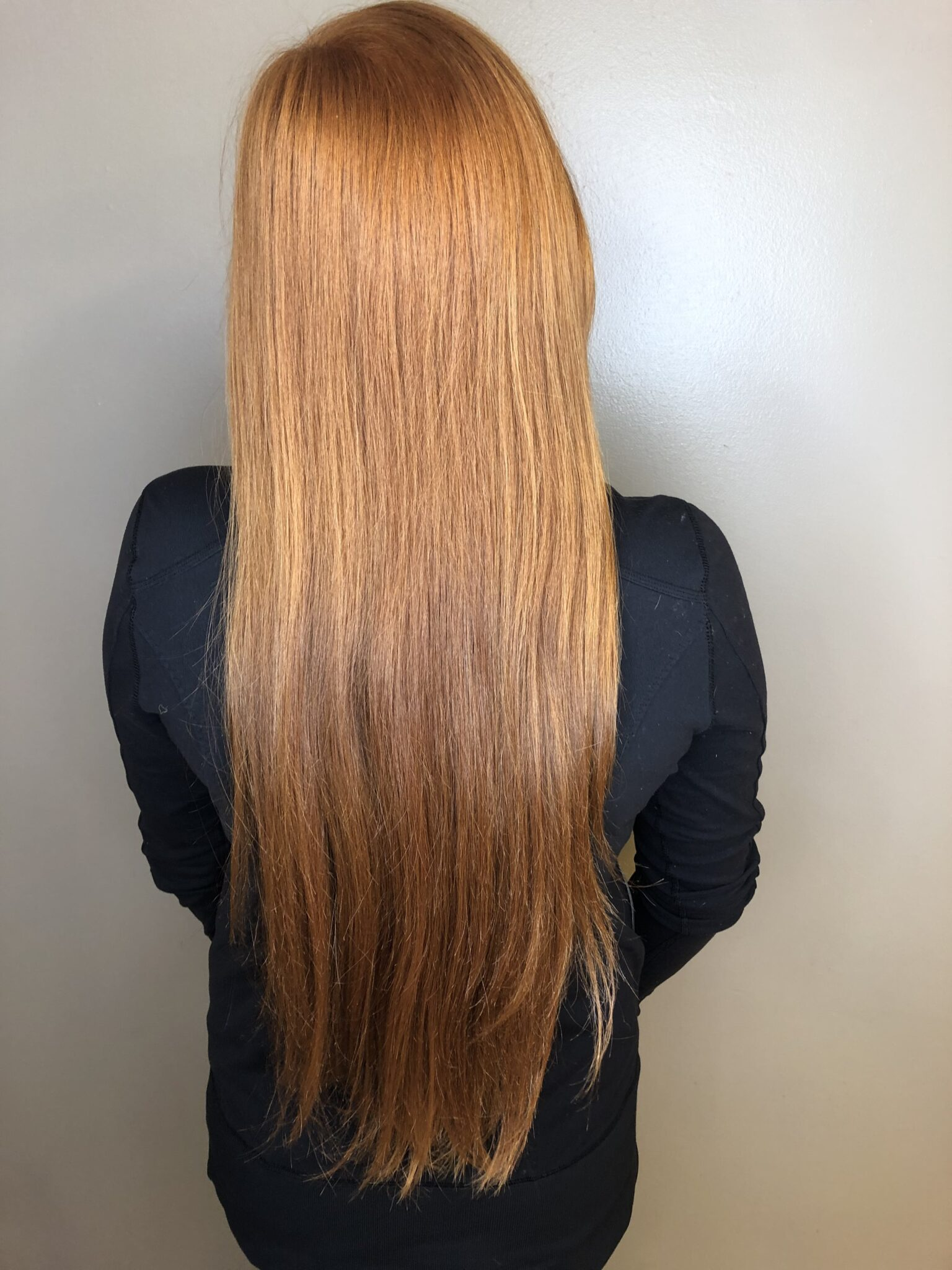 Natural Virgin Red Hair 15.5 inches, about 1.25 inches thick