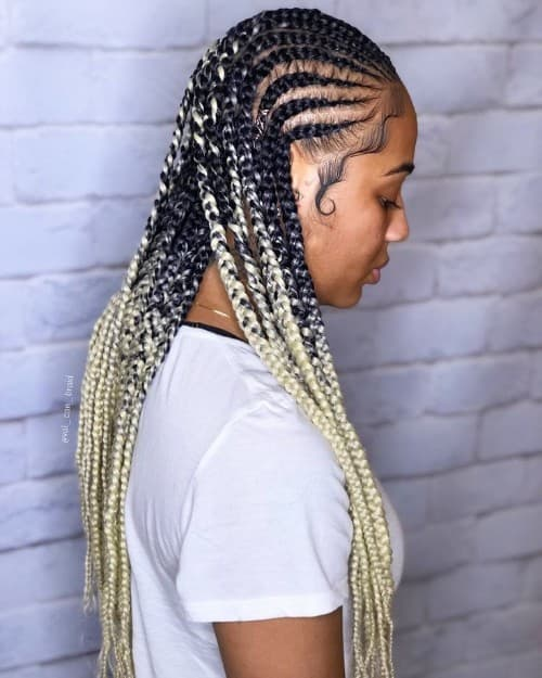 BLACK TO MILKY OMBRE MODERN GHANA BRAID