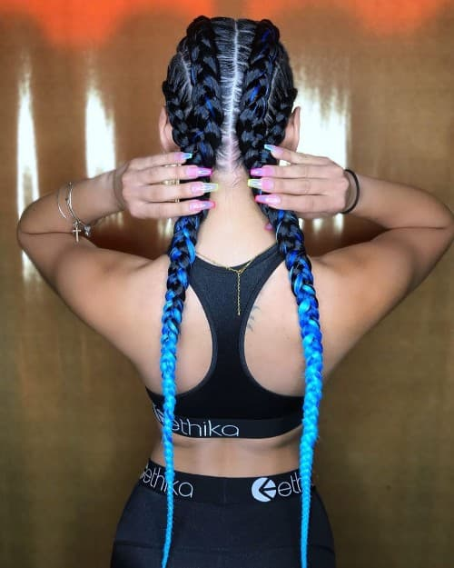 BLACK AND BLUE OMBRE CHUNKY FEED-IN FRENCH BRAID