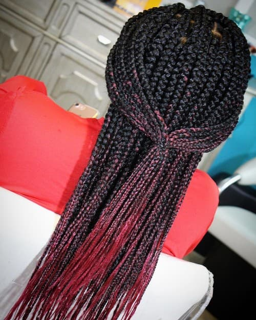 BLACK TO RED OMBRE BOX BRAID