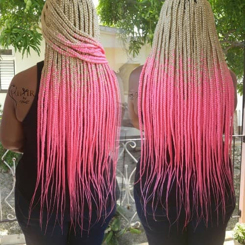 CREAMY TO LIGHT PINK OMBRE BRAID