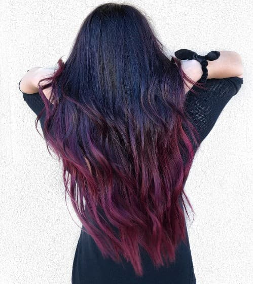 DEEP PURPLE WITH DARK RED HAIR COLOR