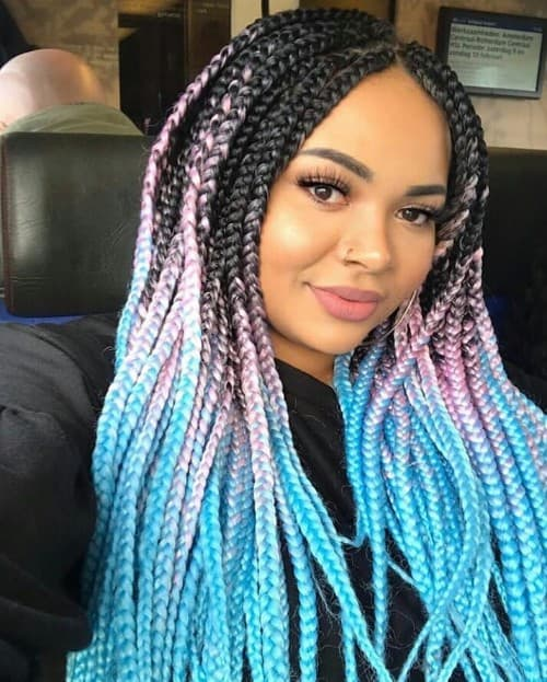 LIGHT PINK AND BLUE BRAID COLOR