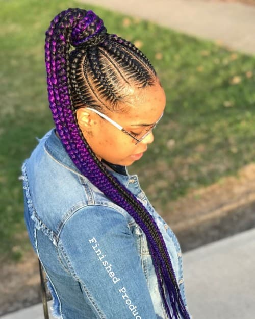 PURPLE AND BLUE STYLISH FEED-IN PONYTAILS BRAID STYLE